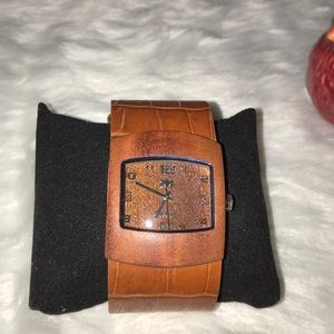 Accessories - Wooden watch with brown leather croc band
